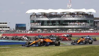 2021 British GP Norris leads Ricciardo McLaren MCL35M Photo McLaren