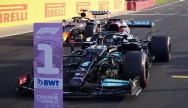 2021 British GP Qualifying parc ferme Verstappen Red Bull Hamilton Mercedes Photo Daimler