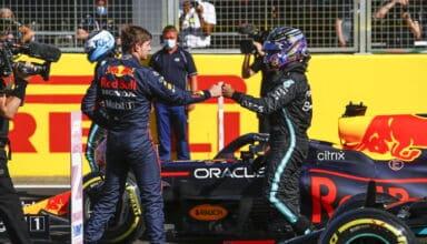 2021 British GP Qualifying parc ferme Verstappen Red Bull Hamilton Mercedes shaking hands Photo Daimler