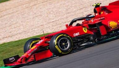 2021 British GP Sainz Ferrari SF21 medium Pirelli C2 side shot Photo Ferrari