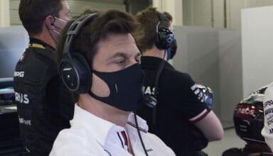 2021 British GP Saturday Toto Wolff Mercedes pits Photo Daimler