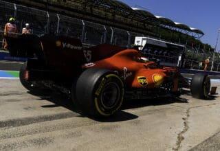 2021 Hungarian GP Sainz Ferrari rear end pitlane Photo Ferrari