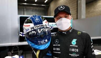 2021 Belgian GP Bottas Mercedes with helmet happy birthday Photo Daimler