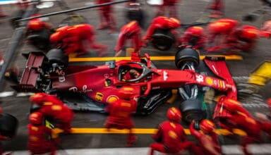 2021 Belgian GP Leclerc Ferrari pitlane top shot Photo Ferrari