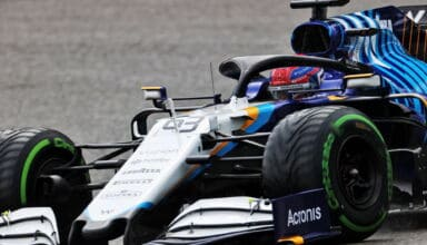 2021 Belgian GP Russell Williams FW43B Intermediate Pirelli tyres Photo Williams