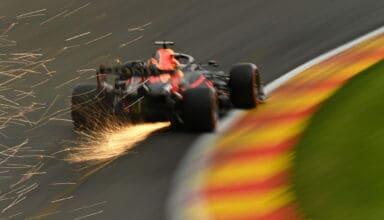 2021 Belgian GP Verstappen Red Bull rear end sparks Eau Rouge Photo Red Bull