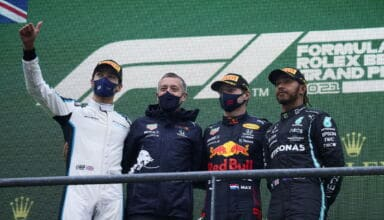 2021 Belgian GP Verstappen Russell Hamilton podium Photo Daimler
