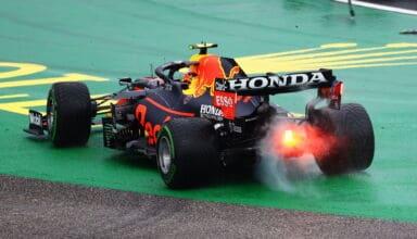 2021 Hungarian GP Perez Red Bull 1st corner crash rear end Honda Photo Red Bull