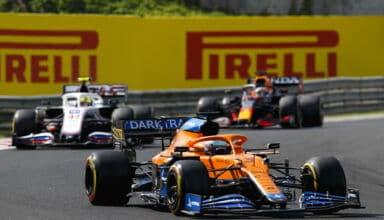 2021 Hungarian GP Ricciardo leads Schumacher and Verstappen Photo Pirelli