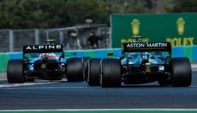 2021 Hungarian GP Vettel Aston Martin follows Ocon Alpine Photo Aston Martin