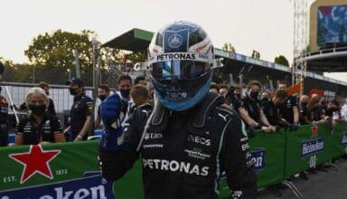 2021 Italian GP Bottas Mercedes F1 W12 celebrates after Qualifying Photo Daimler