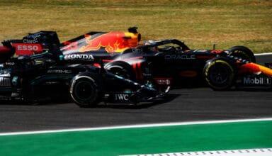 2021 Italian GP Hamilton and Verstappen second chicane Photo Red Bull