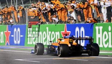 2021 Italian GP Ricciardo McLaren MCL35M finish line victory Photo McLaren