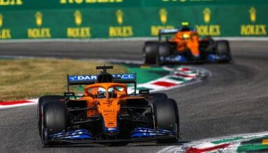 Daniel Ricciardo, McLaren MCL35M, leads Lando Norris, McLaren MCL35M front on
