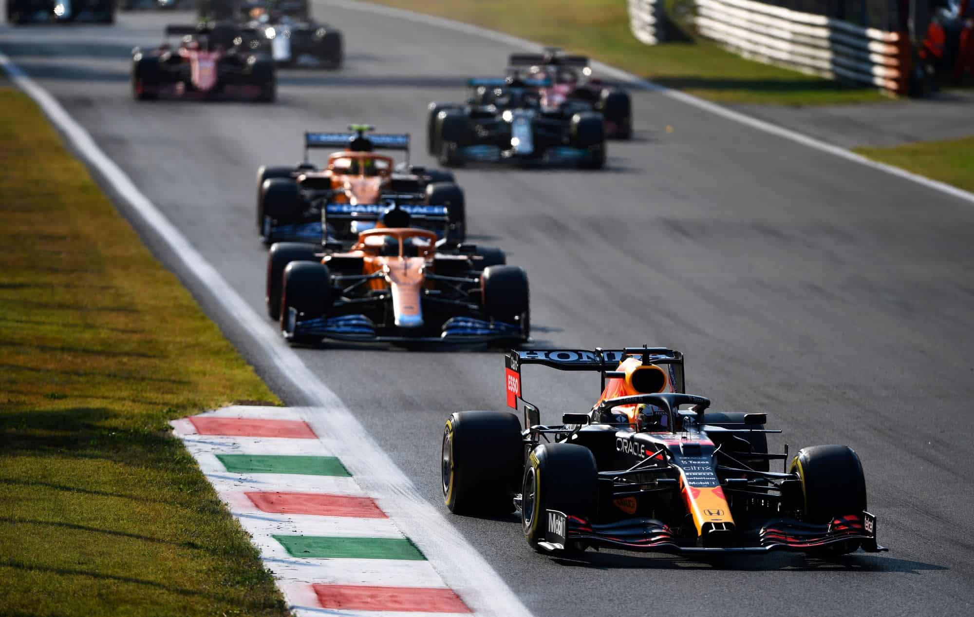 2021 Italian GP Verstappen leads Ricciardo Norris Photo Red Bull