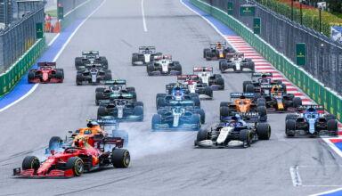 2021-Russian-GP-start-Sainz-leads-for-Ferrari-Photo-Ferrari