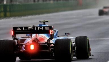 2021 Turkish GP Ocon Alpine rear end start finish straight Photo Alpine