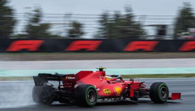 2021 Turkish GP Sainz Ferrari intermediate Pirelli tyre Photo Ferrari