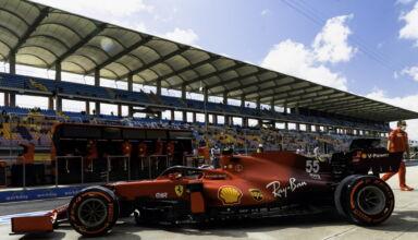 2021 Turkish GP Sainz Ferrari soft Pirelli tyres pitlane side shot Photo Ferrari
