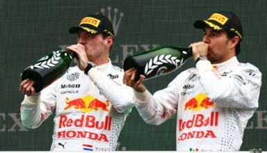 2021 Turkish GP podium Verstappen Perez drink champagne Photo Red Bull