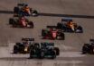 2021 US GP Verstappen and Hamilton race start leading Leclerc Ricciardo Sainz Norris Photo Daimler