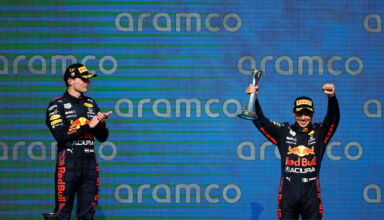 2021 US GP Verstappen and Perez on the podium Photo Red Bull