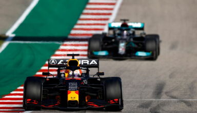 2021 US GP Verstappen leads Hamilton Photo Red Bull