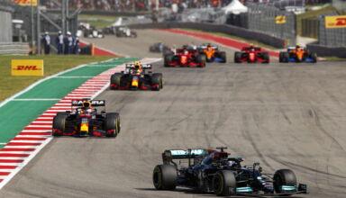 2021 US GP first lap Hamilton leads Verstappen Perez Leclerc Ricciardo Sainz Norris Photo Daimler