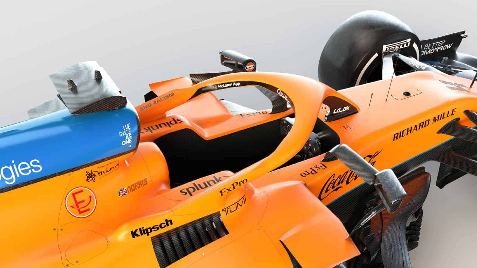 2021 McLaren MCL35M Mercedes launch studio cockpit sidepods Photo McLaren