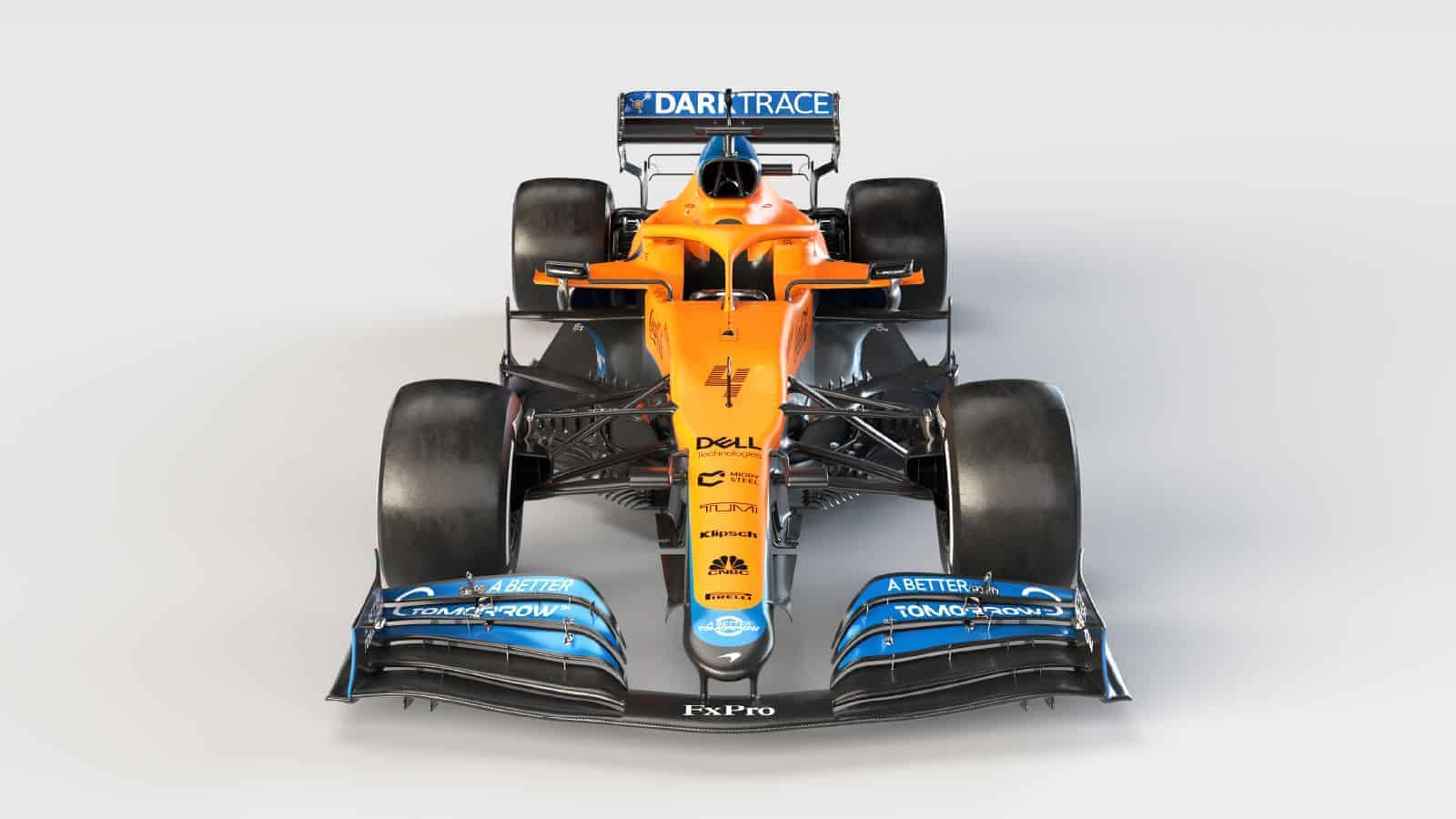 2021 McLaren MCL35M Mercedes launch studio front view frontal Photo McLaren