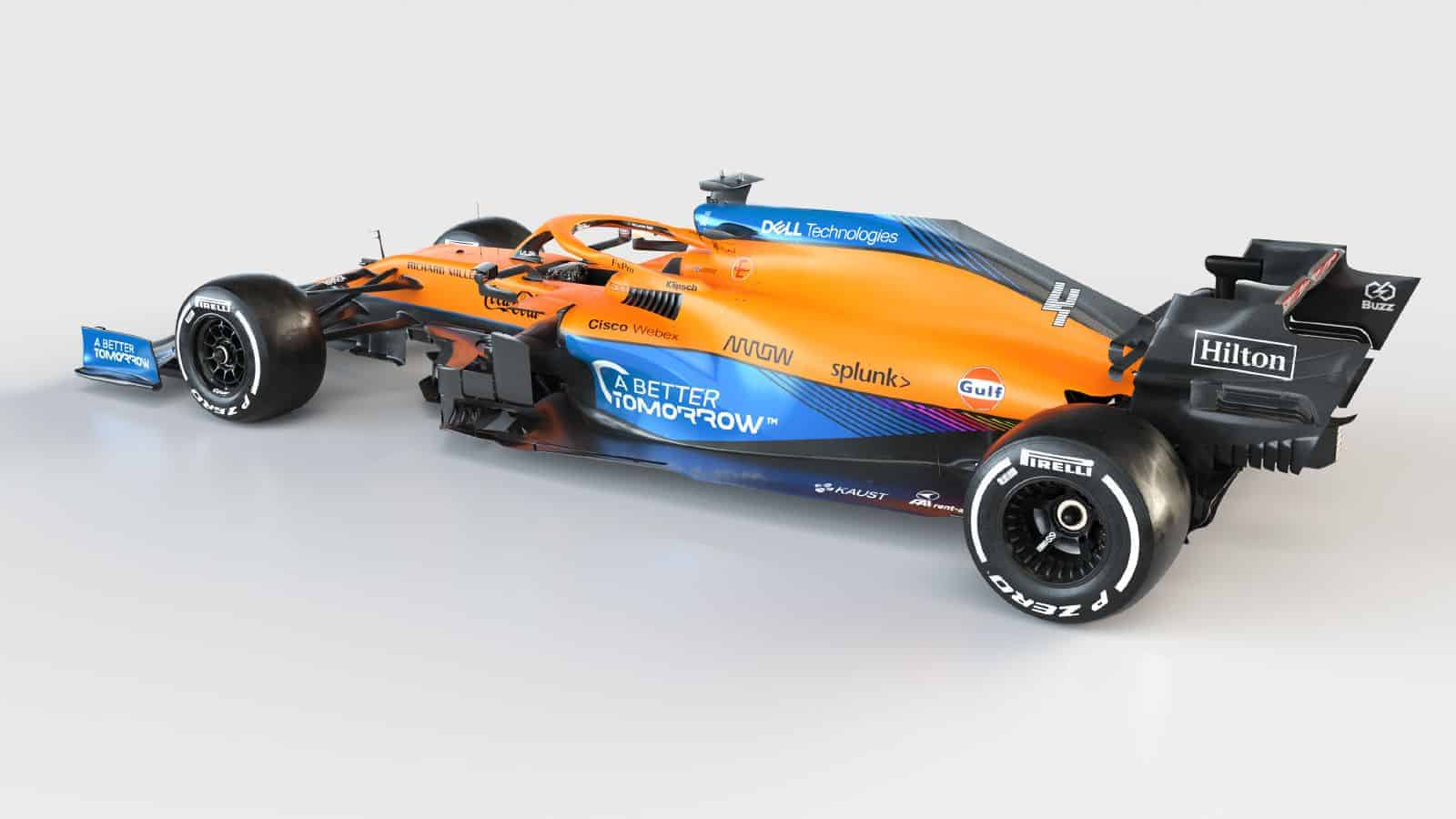 2021 McLaren MCL35M Mercedes launch studio rear left side view Photo McLaren