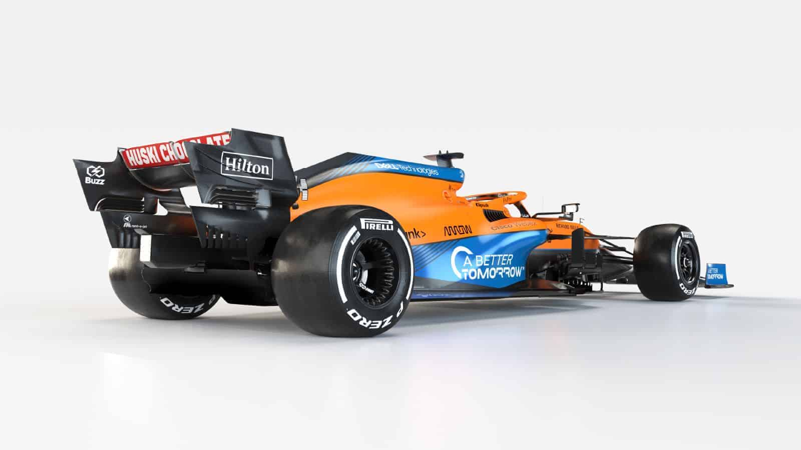 2021 McLaren MCL35M Mercedes launch studio rear side view frontal Photo McLaren