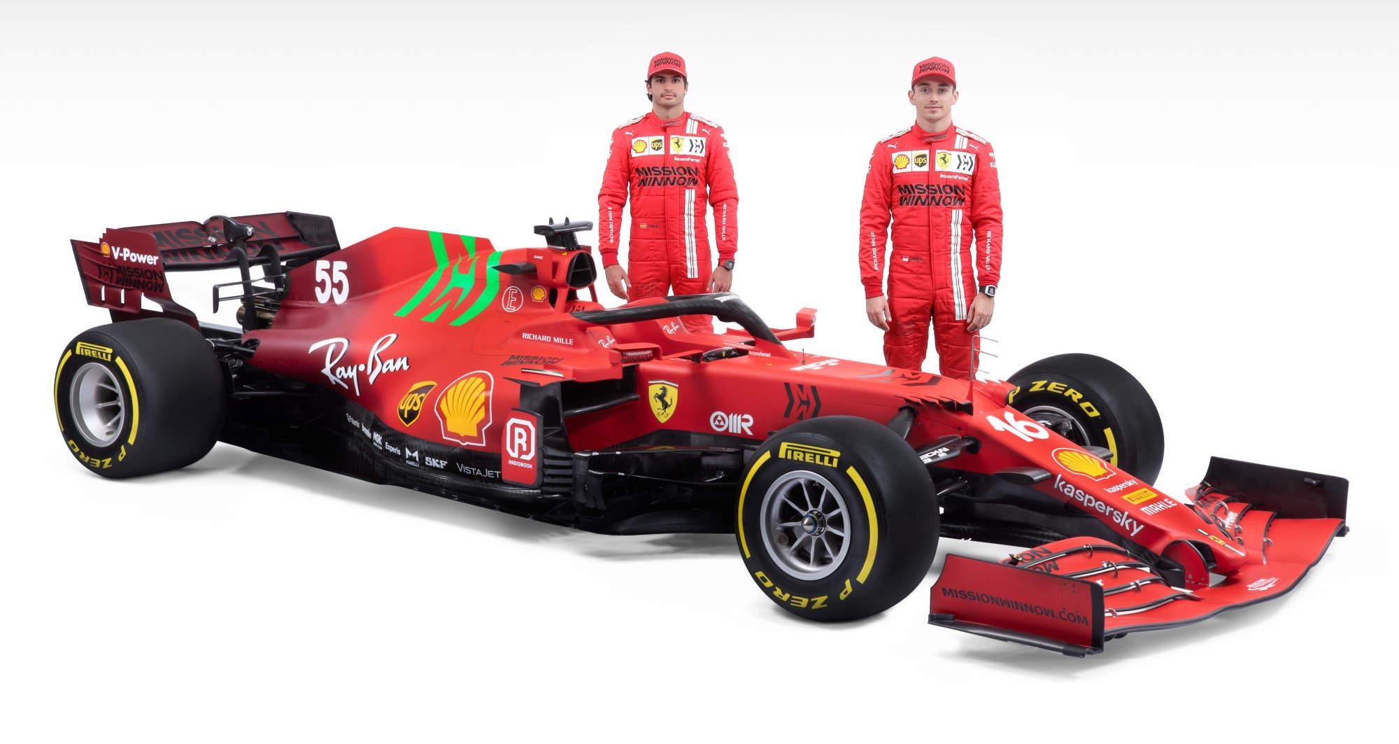 2021 Ferrari SF21 studio photo with Leclerc Sainz Photo Ferrari
