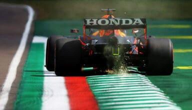2021 Emilia Romagna GP Verstappen exit kerb Variante Alta Photo Red Bull