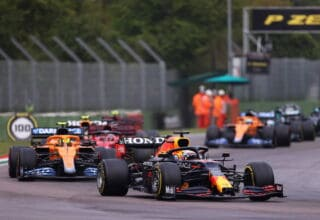 2021 Emilia Romagna GP Verstappen leads Norris after the restart red flag Photo Red Bull