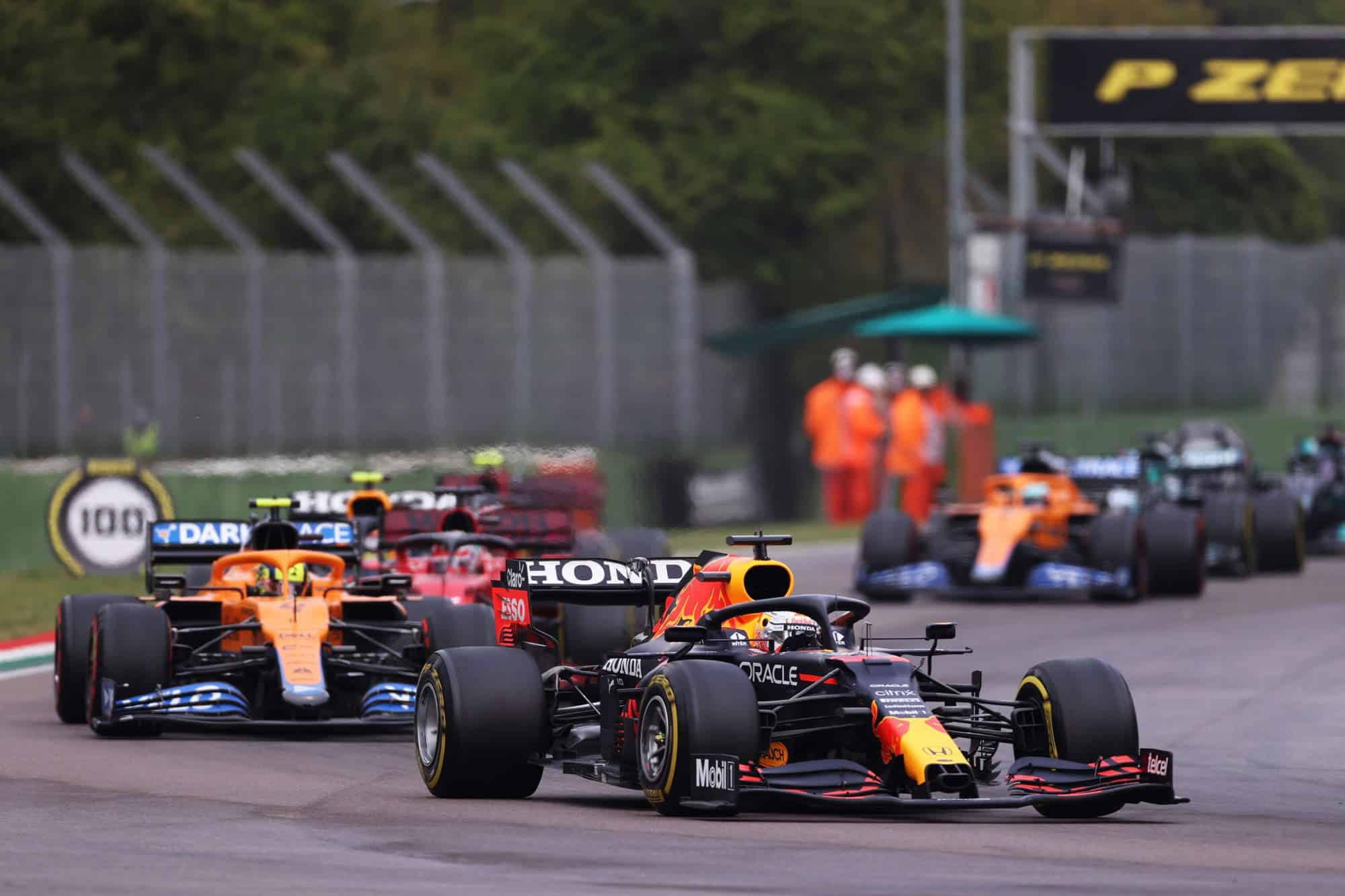 2021 Emilia Romagna GP Verstappen leads Norris after the restart red flag Photo Red Bull