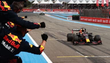 2021 French GP Verstappen Red Bull wins the race in front of Hamilton Mercedes Photo Red Bull
